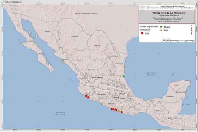 Mapa 2 de sitios identificados con impactos