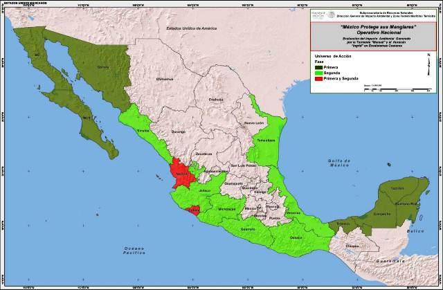 Mapa 1 de los estados atendidos con el Operativo Nacional