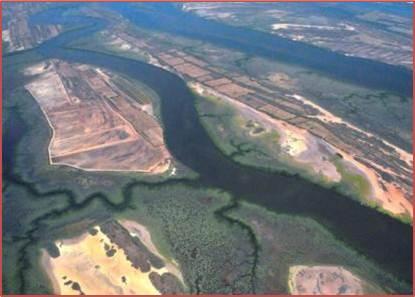Vista aerea de humedal